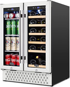 Beverage And Wine Cooler 24 Inch Dual Zone Wine Beverage Refrigerator With Memo