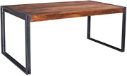 Timbergirl Hand-crafted 78-inch Sheesham Wood And Metal Dining Table