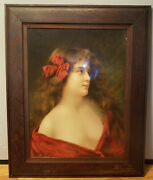 C.1890 Virginia Dare Wine Framed Advertising Lithograph Print By Angelo Asti