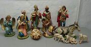 Hand Painted Paper Mache Fontanini Nativity Set- 12 Figures 1960and039s - Italy