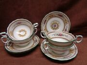 Wedgwood Columbia 4 Cream Soups And Saucers Special Handles