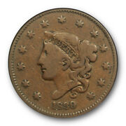 1839/6 1c Coronet Head Large Cent Ngc F 12 Bn Fine Cac Approved Original