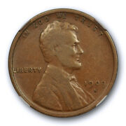 1909 S Vdb 1c Lincoln Wheat Cent Ngc F 15 Fine To Very Fine Key Date Cert4009
