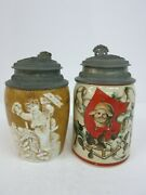 2 Character Beer Stein Tankard Bowling Pin Hand Painted Pig Musterschutz Quality