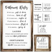 Farmhouse Bathroom Wall Decor Set Of 2 - Funny Bathroom Signs With Rules And 8
