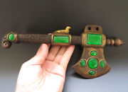 Age-old China Antique Bronze Inlay Green Gem Exorcism Hatchet Tomahawk Axe