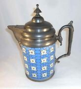 Antique Victorian Graniteware Water Pitcher Or Tankard Pewter Handle Spout And Top