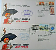 Stamp Mart Belgium Brussels - Bombay Air India First Flight 2 Cover 1967