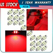 20pcs Red 31mm Car Interior Festoon Led Lights 6-smd-5050 Replacement Lamps