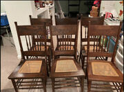 Antique Pressed Back Regency Cane Dining Chairs Set Of 6