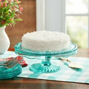 The Pioneer Woman Glass Cake Stand,teal Free Shipping