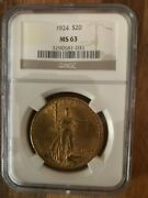 1924 20 St. Gaudens American Double Eagle Gold Coin Ngc Ms63