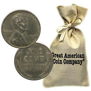 Bag Of 500 Circulated 1943 Steel Pennies P, D And S Mint Marks Wwii Wartime Cents