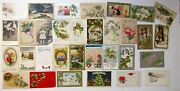 Lot Of 32 Christmas And New Year Antique Postcards