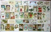 Lot Of 48 Christmas And New Year Antique Postcards