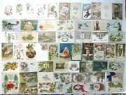Lot Of 59 Christmas And New Year Antique Postcards