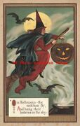 4 Postcards Halloween Set Unknown No Up07 Witches Cats Bats Playing Cards