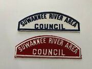 Suwannee River Area Council White Blue And Red White Scout Shoulder Patches