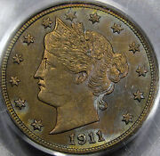 1911 Liberty Or V Nickel Choice Bu Pcgs Ms-63 With Amazing Color And Luster Nice