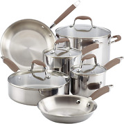 Anolon Advanced Triply Stainless Steel Cookware Pots And Pans Set, 10 Piece, Ony