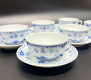 Royal Copenhagen Blue Fluted Half Lace Cups And Saucers Six Pieces No Box