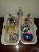 Antique Glass Christmas Holiday Tree Ornaments Lot Of 6