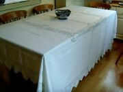 Antique Vintage Mary Card Large Hand Crochet Tablecloth Bedspread Rose Bud Lace
