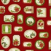 Clearance Salechristmas Villagegift Tag Panel 24'' X 44'' Cotton Fabric By Stu