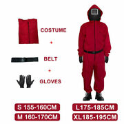 Squid Game Costume Jumpsuit With Belt+gloves Squid Game Cosplay Halloween New Us