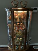 Roseville Pottery Lot Of 25 And Oak Curio Curio Cabinet