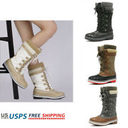 Womens Winter Waterproof Mid Calf Boots Insulated Faux Fur Lined Snow Boots