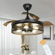 Farmhouse Ceiling Fan With Lights Vintage Cage Chandelier Fan Lamps With Remote