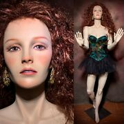 Vintage Realistic Full Female Mannequin Freckles And Teeth Life Size Window Pose