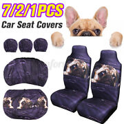 Fabric 1/2/7pcs Dogs Car Front Seat Cover Universal Fit Sedan Chair Protector