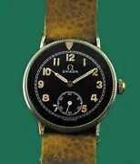 Vintage 1937 Omega Wwii Military Pilots Bomber Aviator Watch 35mm Super Rare