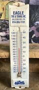 Vintage Metal Advertising Thermometer Eagle Tire And Towing Milesburg Pa Works