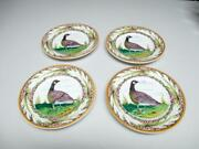 Set Of 4 Vintage Montelupo Italy Faience Pottery 6 3/8 Geese Plates