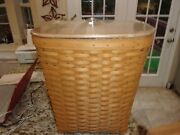 Longaberger Medium Waste Basket With Protector And New Wood Lid