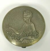 Antique 1920and039s Norida Beautiful Lady Picking Flowers Silver Metal Compact