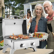 Stainless Steel Oven Gas Grill Double Row Double Head Tabletop Bbq Outdoor Party