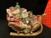Vintage Fitz And Floyd Father Christmas Santa Sleigh Cookie Jar In Box