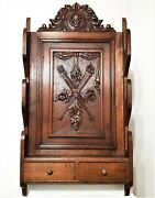 Architectural Hunting Wall Shelf Antique French Wood Carving Salvaged Furniture