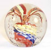 Blown Art Glass Paperweight Colorful Leaves W/ Central Bubble Wheaton Village Nj