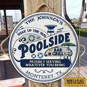 Poolside Bar And Grill Round Wooden Sign Custom Name Backyard Pool Home Decor