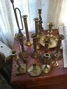 Lot Of 12 Vintage Brass Candle Holders + Candle Snuffer 12 Pounds