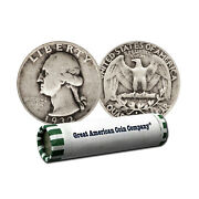 Roll Of 40 - 90 Silver Washington Quarters 10 Face Circulated