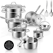 Duxtop Professional Stainless Steel Pots And Pans Set, 18-piece Induction Cookwa