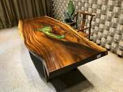 Decorative Handmade Wooden Working Epoxy Dining Conference Center Top Table Deco
