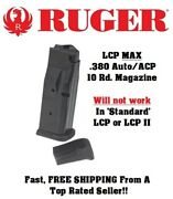 Ruger Lcp Max .380 Auto/acp 10-round Oem Magazine/mag/clip 90733 -16a