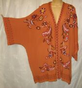New 2x/3x Curations Copper Embroidered Open Front Kimono Jacket Duster Cover-up